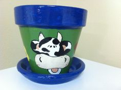 whimsical cow clay pot