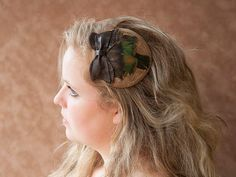 Forest lust - Fascinator headpiece, feather, leather