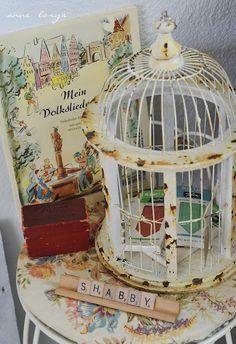 rusty bird cage.