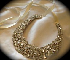 "Chunky Swarovski Crystal Bridal Statement  Necklace - 2"" wide"