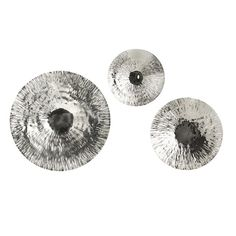 Fassett Oversized Disc - Set of 3 - This set of three silver textured oversized discs made from a shiny stainless steel add a sophisticated look to any decor. Enquire for price.