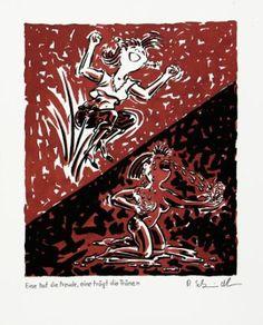 """Saatchi Art Artist Ralf Schmidt; Drawing, """"Eine hat die Freude, eine trägt die Tränen"""" #art"""