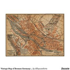 Vintage Map of Bremen Germany (1910) Poster
