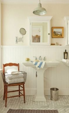 Thinking outside the box--chair in the bathroom.