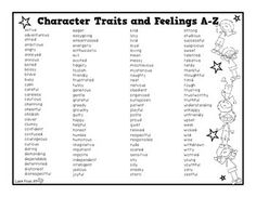 CHARACTER TRAITS AND FEELINGS A-Z - TeachersPayTeachers.com