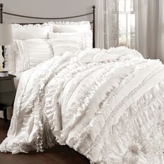 Lush Decor Belle 4-piece Comforter Set Ivory/ King (As is Item) - Free Shipping Today - Overstock.com - 90003035 - Mobile
