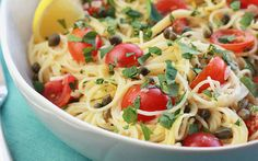 Delicate, delicious and oh-so-easy! This salty and tangy lemon caper pasta with fresh grape tomatoes can be on the table in less than thirty minutes, perfect for when you need a meal fast. Pasta do…