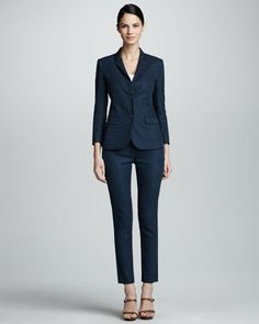 Flat Front Slim Linen-Blend Pants, Prussian Blue by THE ROW at Neiman Marcus.