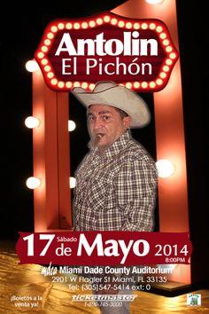 El humorista cubano ANTOLÍN EL PICHÓN regresa a Miami, Saturday, May 17 at 8:00pm Miami-Dade County Auditorium #humor #cuba #miami  http://www.ticketmaster.com/antolin-el-pichon-miami-florida-05-17-2014/event/0D004C28AD266E75