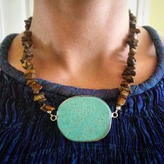 Turquoise and Tiger Eye Necklace by AsherAnn on Etsy