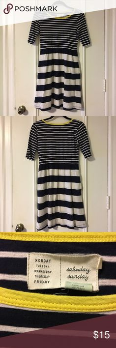"""Anthropologie short sleeved cotton dress Anthropologie confortable cotton dress with pockets. Adorable yellow trim on neckline.16"""" pit to pit across when laid on flat. 35"""" length from shoulder to hem. Little wear around armpit area but hard to notice. Please see pictures. I love stripes, and my closet is filled with stripes. now I'm trying to cut down some and simplify my closet a little bit. Anthropologie Dresses"""