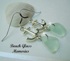 Beach Glass Sterling Anchor Earrings Sea Foam by BeachGlassMemories, $24.50