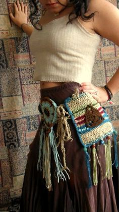 This is a one of a kind, sustainable and original hand crocheted utility belt… Crochet Belt, Freeform Crochet, Diy Crochet, Hand Crochet, Booties Crochet, Bohemian Crochet Patterns, Hippie Crochet, Crochet Fashion, Crochet Accessories