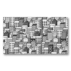 Arquitectura da cidade preta & branca do vetor modelo cartao de visita