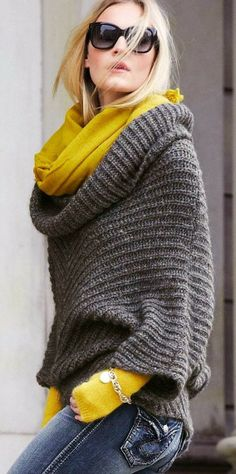 Gorgeous double cowl, plus a great way to wear yellow into the fall and winter season.