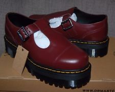 NIB Dr Martens Women's Bethan Cherry Red Aggy Style Platform T-Bar Mary Janes