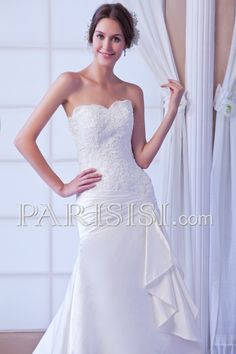 vestidos de novia Sin Mangas satén Cristals Encaje Marfil Corazón Elegante Clásico Hasta Suelo Corte A