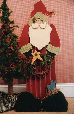 Tall Standing Christmas Wood Craft.  Santa