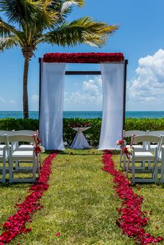 Not every destination wedding ceremony is on the beach! We're loving the bright colors and stunning view framing this picturesque wedding gazebo from Secrets Capri Riviera Cancun. Destination Wedding Inspiration, Destination Weddings, Themed Weddings, Wedding Ideas, Fall Wedding Colors, Red Wedding, Wedding Stuff, Red Rose Petals, Wedding Ceremony