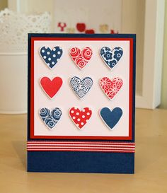 red, white and blue hearts