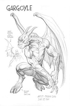 Gargoyle By Frank Cho Gargoyle Drawing, Gargoyle Tattoo, Frank Cho, Monster Drawing, Monster Art, Fantasy Creatures, Mythical Creatures, Arte Obscura, Creature Drawings