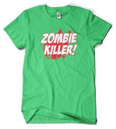 (Cybertela) Zombie Killer Mens T-shirt Funny Horror Fictional Tee (Kelly Green X-Large)