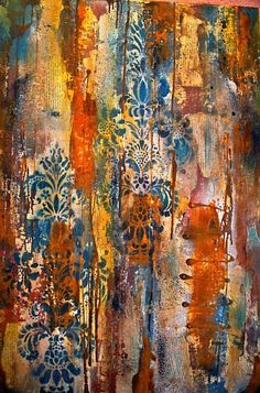 """Entitled """"Sewn"""", 20 x 30 gallery wrapped Abstract painting on canvas. Original and signed by the artist (Elizabeth VanHoutan) Metallic silver, rich red, turquoise, navy and rust with a damask design. $300.00"""