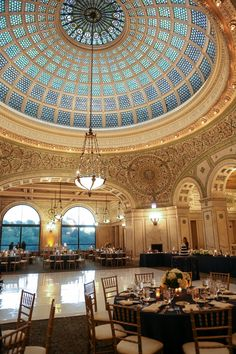 The Chicago Cultural Center's Tiffany Dome ceiling is quite stunning, as you can see!  A beautiful location for a downtown Chicago wedding reception!  Photo by George Street Photo.