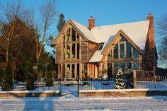 Show Home in the snow - 2010 The Woodhouse, Oak Framed Buildings, Oak Frame House, Country Style, Beautiful Homes, House Ideas, House Design, Cabin, Scrapbook
