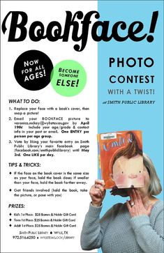 Photo Contest--this would be nice to have everyone submit, then post a slideshow on the TV in the library!Bookface Photo Contest--this would be nice to have everyone submit, then post a slideshow on the TV in the library! Library Games, Library Week, Library Boards, Teen Library, Library Events, Library Activities, Library Lessons, School Library Displays, Middle School Libraries