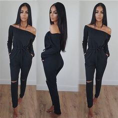 Sexy Women Solid Casual Jumpsuit Off Shoulder Long Sleeve Women Autumn  Clubwear Hole Knees Fashion One 5453b73066ca