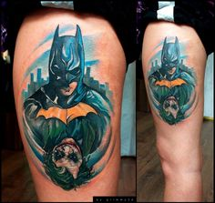 Thigh Fantasy Batman Joker Tattoo by Andrey Barkov Tattoo Tattoo Foto, 3 Tattoo, Book Tattoo, Comic Tattoo, Batman Tattoo, All Tattoos, Tatoos, Random Tattoos, Super Hero Tattoos