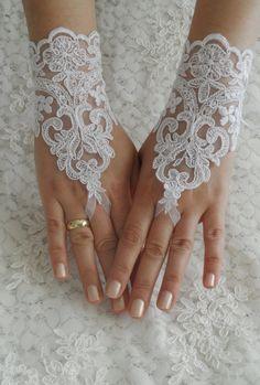 Ücretsiz nakliye, Düğün Eldiven, fildişi dantel eldiven, parmaksız eldivenler, beyaz gelinlik, kapalı manşet, manşet düğün gelin, gelin eldiven,