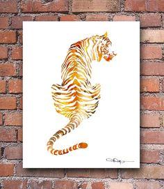 Tigre aquarelle - peinture abstraite - Wall Decor