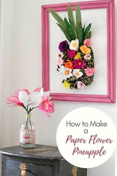 Jun 2018 - How to make a paper flower wall decoration pineapple. This fun easy to make summer crepe paper creation would brighten up any home or party. Paper Flower Wall, Flower Wall Decor, Paper Flowers Diy, Diy Paper, Paper Crafts, Flower Room, Flower Diy, Paper Art, Diy Wall Art
