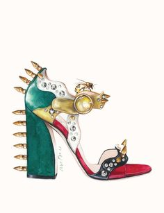 MALIN SPIKE SANDAL BY GUCCI for FASHIONARY Iconic Shoe Postcards fashion illustration by António Soares