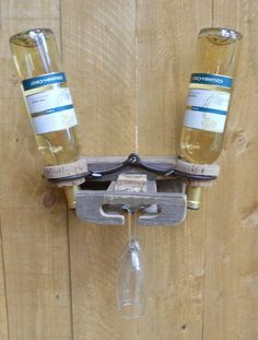 wine holder out of a horse bit and crab ring corks