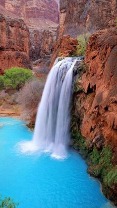 Havasu Falls in the Grand Canyon | Supai, Arizona This water is so blue you could probably see the bottom and swim and swim for miles! #AmericaBound @Sheila Collette Farm