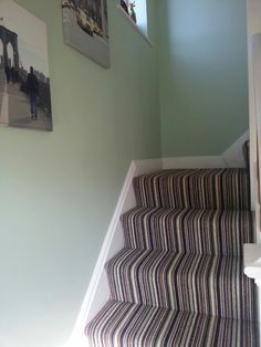 Stripey carpet & NYC canvases Striped Carpets, New Homes, Carpet Stairs, Decor, House, Home, Carpet, New Carpet, Home Decor