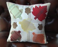 """Fall Pillow, Thanksgiving Decor, Leaf Cushion, Handmade Decorative Rustic Throw Pillow Scottish Tartan Gifts 12"""" x 12"""" A lavish addition to your home, this charming cushion is hand crafted using cotton and Scottish tartan to create a warm leaf silhouette design. Each cushion is truly unique in appearance as the appliqué is always designed using different colours. Rustic Fall Decor, Fall Home Decor, Fall Pillows, Throw Pillows, Custom Pillows, Decorative Pillows, Leaf Silhouette, Silhouette Design, Tartan Throws"""