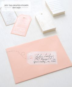 DIY gift tag stamp from an eraser