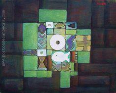 """Edwin Studer (Taller Torres García) """"Constructivo marino"""" Collage y óleo sobre cartón 48 X 36 cms. Circa 1998  http://www.portondesanpedro.com/ver-producto.php?id=9622"""