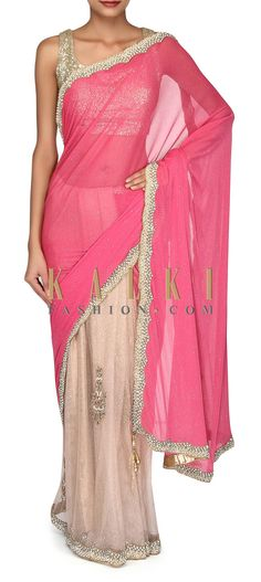 Buy Online from the link below. We ship worldwide (Free Shipping over US$100). Product SKU - 302905. Product Link - http://www.kalkifashion.com/half-and-half-saree-in-pink-and-cream-with-embroidered-border-only-on-kalki.html
