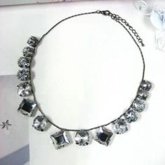 Fake Crystal Necklace Silver - One Size