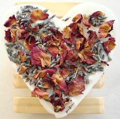 Handmade shea butter soap with dried rose petals and lavender buds by Soapy Sweet Treats www.soapysweettreats.com
