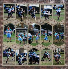(PowderPuff Football page?) French Photo Collage created by Alice using Sewing Stitches Lea France Stencil