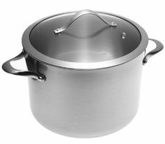 Calphalon Contemporary Stainless 8-Quart Stockpot with Glass Lid by Calphalon. $178.95. Tri-ply construction: stainless steel with aluminum core for superb conductivity. Modern, curved shape and brushed surfaces to hide wear. Dishwasher-safe; oven-safe to 450 degrees F; lifetime warranty. 8-quart stockpot cooks party-sized portions of soup, chili, pasta. Stay-cool handles comfortable through hours of cooking. Amazon.com                Contemporary Stainless is for home chef...