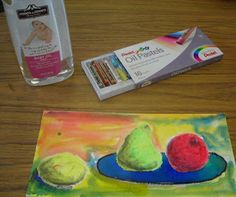 Tomorrow I have 2 classes of 2nd graders that will be making a still life using oil pastels and baby oil for the fruit and liquid water colo...