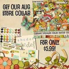 Get the August Culinary Specialists Collab kit from @scraptakeout for only 5.99. Over 460MB worth of scrappy goodness to help keepsake your special fall memories.