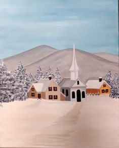 Winter village with church acrylic painting on canvas. Acrylic Painting Canvas, Canvas Art, Winter Painting, Great Paintings, Art Studios, Mansions, House Styles, Holiday, Artist